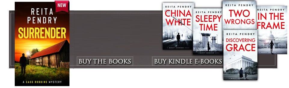 A picture of Reita Pendry smiling. Links to buy Reita's books on Amazon. Cover images for China White, Sleepytime, Two Wrongs, and Discovering Grace.